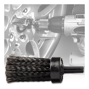 Drill-Operated Lug Nut Cleaning Brush